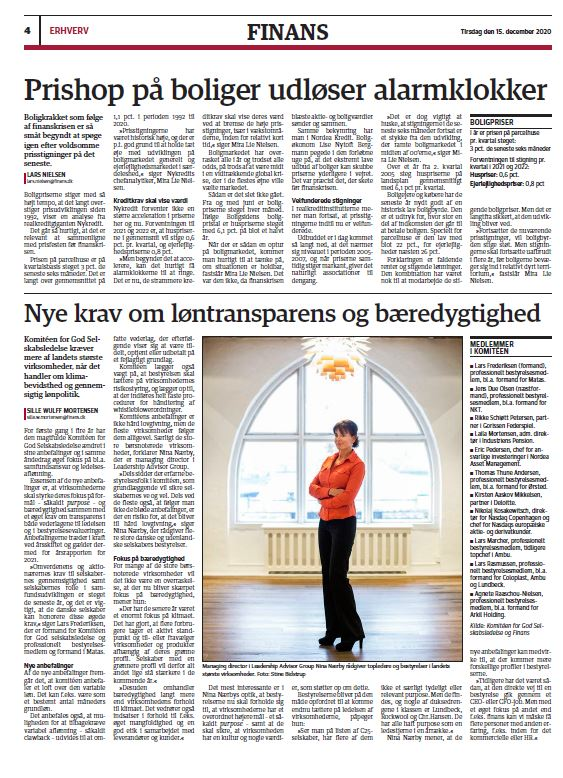 Nina Nærby comments in Jyllands-Posten on the new (from Jan. 2021) Danish Corporate Governance Guidelines