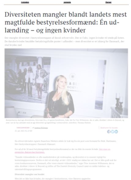 Nina Nærby comments on board diversity in Borsen