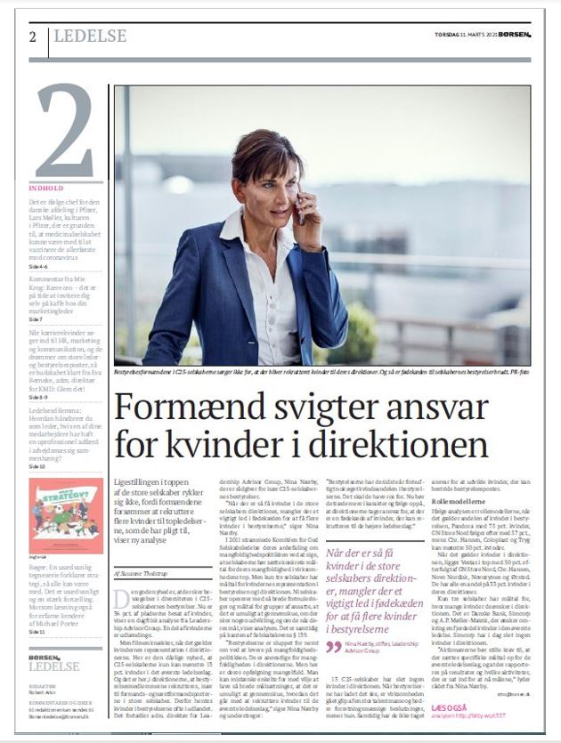 Nina Nærby in Børsen article March 11 2021 gender management teams